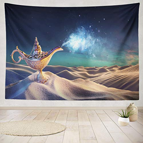 Magic Arabian Fairy Desert Aladdin Night Golden Appearing Arabia Real Genie Magical Old Spell Hanging Tapestries 60 x 80 inch Wall Hanging Decor for Bedroom Livingroom Dorm ()