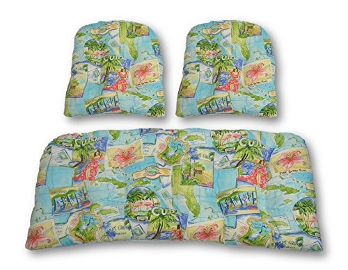 3 Piece Wicker Cushion Set - Indoor / Outdoor Wicker Loveseat Settee & 2 Matching Chair Cushions - Tropical Island Postcard -- Blue, Green, Yellow, Red (Postcard Island)