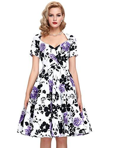 Purple Prom Dress with Sleeves Tea Length: Amazon.com