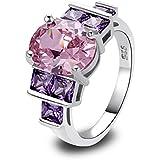 Amethyst Pink Blue White Gemstone Women AAA Silver Ring Size 6 7 8 9 10 11 12 13#by pimchanok shop (9, 23 Pink Topaz)
