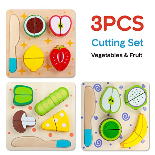 Yinan Wooden Blocks Set/Wooden Pretend Play Cutting Fruit Food Set/Kitchen Puzzle Toys with Chopping Block Knife for Toddlers/Educational Play set for kids/Wooden Cutting Puzzles (Set of 3)