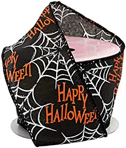 """Happy Halloween Spiderwebs Wired Ribbon - 2 1/2"""" x 10 Yards, Black, Orange, White, Bows, Wreath, Party Decor, Fundraiser, School Dance, Haunted House Decoration, Trick or Treat"""