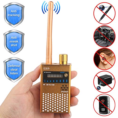 Wireless Signal Detector,Bug Camera RF GSM GPS Detection Finder Scanner Alarm Device for Car, Home, Hotel, Meeting, Protect Personal Privacy, Gold