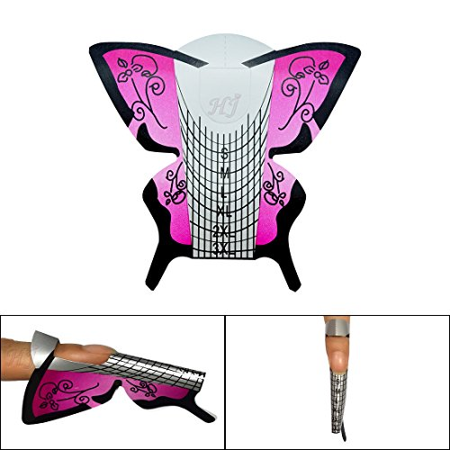 Acrylic Stickers (Honey Joy 300pcs/lot Professional Purple Butterfly Nail Form Tips Nail Art Guide Acrylic Tip Gel Extension Sticker Nail Polish Curl Form Pack of 1)