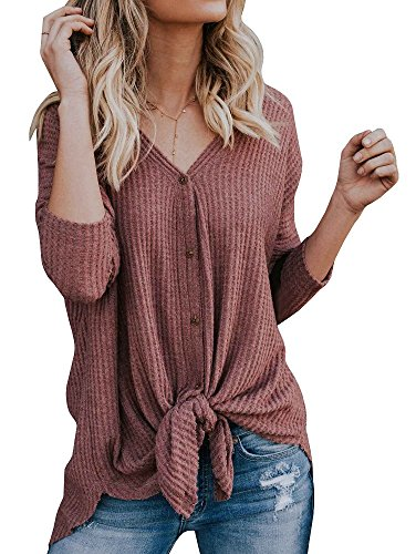 Farktop Womens Long Sleeve V Neck Button Down T Shirts Tie Front Casual Knit Blouses Tops - Heel Button