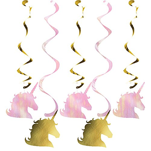 Creative Converting 329307 Unicorn Sparkle 30-Count Dizzy Dangler Decorative Streamers
