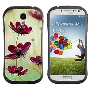 "Pulsar iFace Series Tpu silicona Carcasa Funda Case para SAMSUNG Galaxy S4 IV / i9500 / i9515 / i9505G / SGH-i337 , Campo de flores Naturaleza verde púrpura del trullo"""
