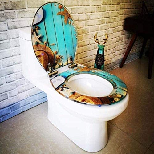 CXMWYトイレのふた V/U/O形状のトイレのための調節可能なヒンジクイックリリース便座カバー肥厚バスルームの蓋付き便座ヒトデ便蓋、OneColor-40〜48センチメートル* 33〜38センチメートル