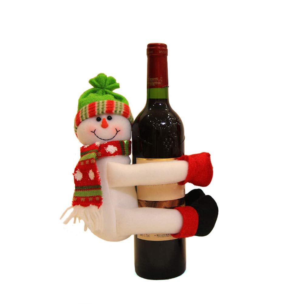 ZREAL Red Wine Bottle Cover Champagne Santa Snowman Decoration for Home Dinner Party, Old man