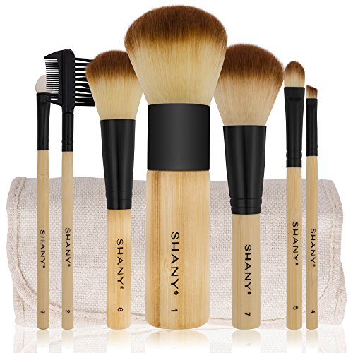 SHANY Bamboo Brush Set with Premium Synthetic Hair, Bamboo Handles and Cotton Pouch - Animal Free Makeup Brush Powder