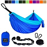 Gold Armour Camping Hammock - Extra Large Double Parachute Hammock (2 Tree Straps 16 Loops/10 ft Included) Usa Brand Lightweight Portable Mens Womens Kids, Camping Accessories Gear (Blue and Sky Blue)