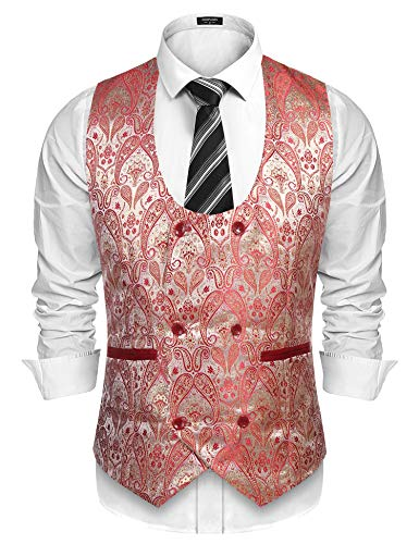 COOFANDY Men Formal U Neck Double Breasted Dress Waistcoat -