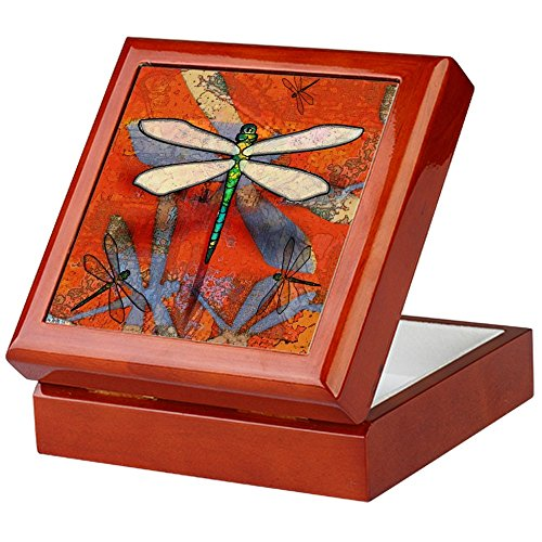 CafePress - Dragonfly Jewelry Box - Keepsake Box, Finished Hardwood Jewelry Box, Velvet Lined Memento Box