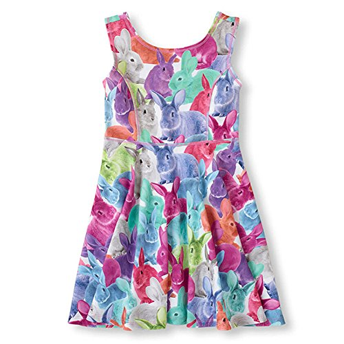 Price comparison product image 21KIDS Cute 3D Cat Dog Print Girl Casual Cartoon Princess Party Summer Dress,Rabbit,10
