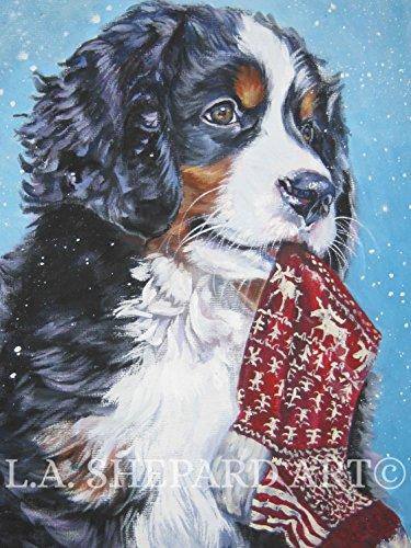 (A Bernese Mountain Dog art portrait print of an LA Shepard painting 8x10