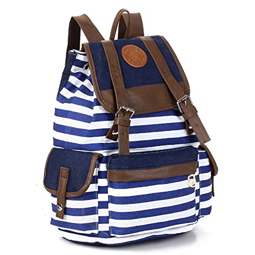 Wowlife@ Women Single Shoulder Bag Korean Candy Color Nylon Unisex Fashionable Canvas Backpack School Bag Super Cute Stripe School College Laptop Bag for Teens Girls Boys Students for Teens Girls Boys Students Outdoor Travel for Christmas Gift (Blue)