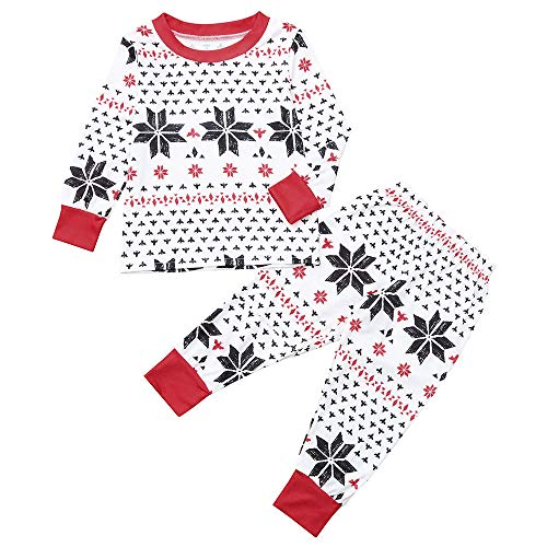 Mlide Snowflake Printing Red Sets,Family Christmas Pajamas Indoor Shirt Pants Sets 2Pcs Sleep Nightwear for Kids(Red(Kids),8)