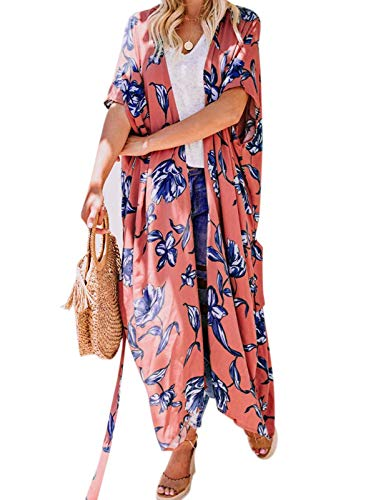 Womens Kimono Cardigans Floral Print Chiffon Beach Cover ups Loose Casual Tops Orange Red (Best Stores For Sweaters)