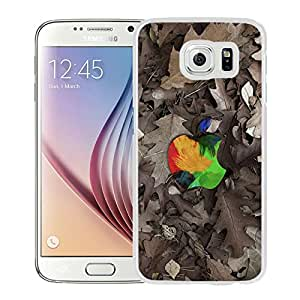 Beautiful Samsung Galaxy S6 Cover Case ,Apple Art Logo White Samsung Galaxy S6 Phone Case Unique And Durable Designed Screen Case