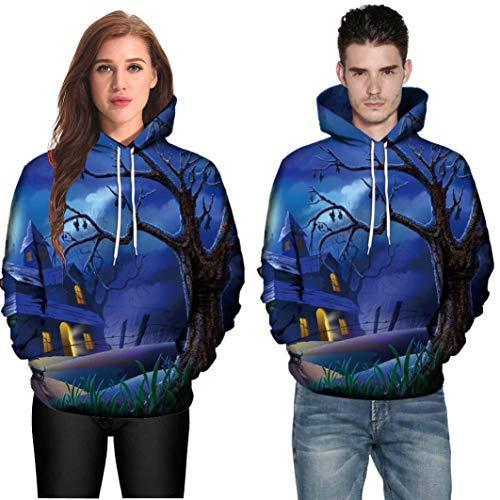 DEATU Halloween Shirts Clearance! Men Women Print Long Sleeve Halloween Couples Hoodies Top Blouse Shirts(Blue,XL)
