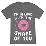 LookHUMAN I'm in Love with The Shape of You Parody White Print Heathered Gray Small Mens/Unisex V-Neck Triblend Tee by