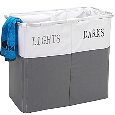 HOMEST 3 Sections Laundry Hamper Basket with Aluminum Frame 25.5''×22.5''H Durable Dirty Clothes Bag for Bathroom Bedroom Home, Grey (White&Grey) - 3 sections large capacity - Divided into 3 sections so you can sort your dark, color from light as you drop clothing into the hamper. Each laundry bag can hold up to 2 standard size loads of laundry Save your space - When not in use, the dirty clothes hamper easily folds flat for storage in closet Durable and lightweight - Designed from detachable and assemble aluminum frame and durable material bag to be lightweight yet durable for frequent use in your bedroom, laundry room or bathroom - laundry-room, hampers-baskets, entryway-laundry-room - 51i3Rylpe3L. SS400  -