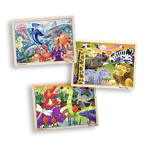 Melissa & Doug 3-Puzzle Wooden Jigsaw Set - Dinosaurs, Ocean, and Safari (24 Pieces Each, Great Gift for Girls and Boys - Best for 3, 4, and 5 Year Olds)