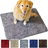 Enthusiast Gear Dog Mud Door Mat | Ultra Absorbent Microfiber Chenille Non-Slip Doormat, Dog Bowl Floor Mat, Crate Rug – No More Dirty Dogs with Muddy Paws – Washable - Red