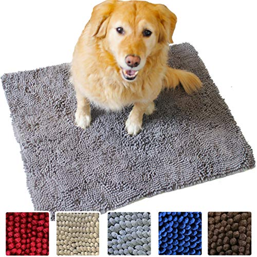 Enthusiast Gear Dog Mud Door Mat   Ultra Absorbent Microfiber Chenille Non-Slip Doormat, Dog Bowl Floor Mat, Crate Rug - No More Dirty Dogs with Muddy Paws - Washable - Blue