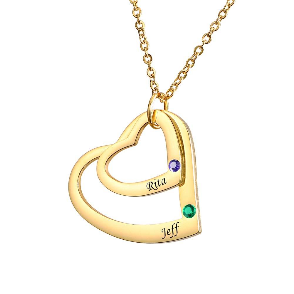 Supreme glory Personalisierte Kette Anhaenger Namenskette Familienkette Geburtsstein Kette Doppelherz Mit 2 Wunschnamen Gold Halskette Aus Edelstahl