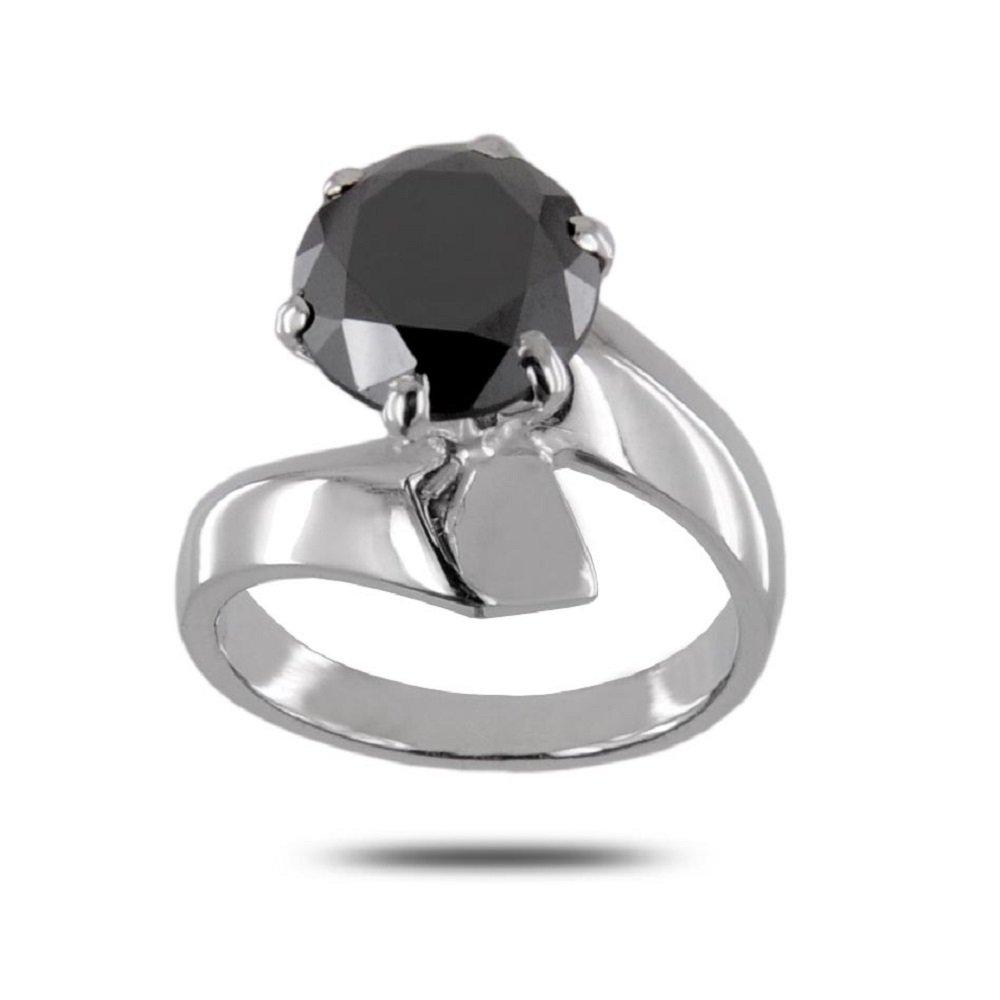 3.15 Ct Black Diamond Certified Designer Ring in 925 Silver Online Deal