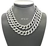 Shiny Jewelers USA Mens Iced Out Hip Hop Silver tone CZ Miami Cuban Link Chain Choker Necklace (20'' & 24'')