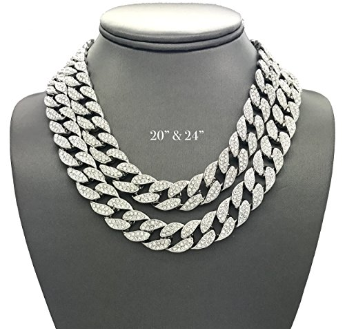 Hip Hop Diamond Necklaces - Shiny Jewelers USA Mens Iced Out Hip Hop Silver tone CZ Miami Cuban Link Chain Choker Necklace (20