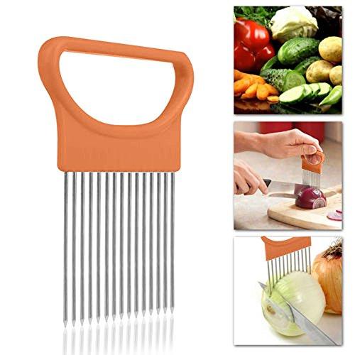 (Dreamyth- Tomato Onion Green Vegetables Slicer Cutting Aid Holder Guide Slicing Cutter Safe Fork (Orange, 11 x 7.8cm))