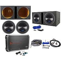 2 Alpine Type-S SWS-12D4 12 1500w Subwoofers+Vented Sub Box+Mono Amplifier+Kit