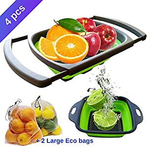 4 Pc Set with Adjustable Over the Sink Collapsible Colander, Small Silicone Strainer and 2 Bonus Eco Friendly Fruit and…