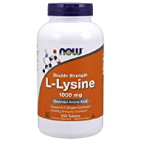 NOW Supplements, L-Lysine (L-Lysine Hydrochloride) 1,000 mg, Double Strength, Amino...