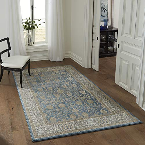 (Momeni Rugs KERMAKE-01BLU2030 Kerman Collection, Antique Persian Inspired Traditional Area Rug, 2' x 3',)