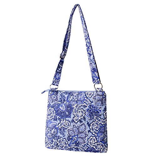 Print Fabric Bag (Waverly Large Crossbody Bag (Quilted Blue Paisley))