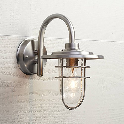 """Stratus Industrial Outdoor Wall Light Fixture Brushed Nickel 12 3/4"""" Caged Seeded Glass for Exterior House Porch Barn Patio Deck Walkway - John Timberland"""