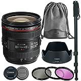 Canon EF 24-70mm f/4.0L IS USM Lens Bundle with Canon Case + Canon Lens Hood + 3 Piece Filter Kit + Monopod (Premier Lens Kit)