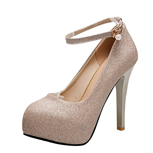 Mee Shoes Women's Sexy High Heel Buckle Ankle Strap Platform Court Shoes golden znpte