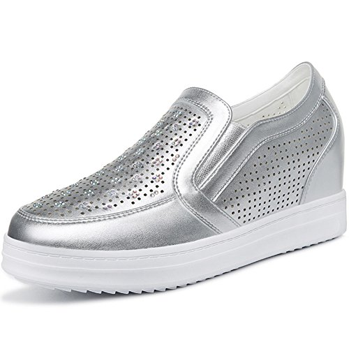 U-MAC Women Increased Inside Sneakers Round Toe Anti-Slip Thick Sole pore Space Vamp Elastic Band Chic Shoes Silver PwbdDvJ