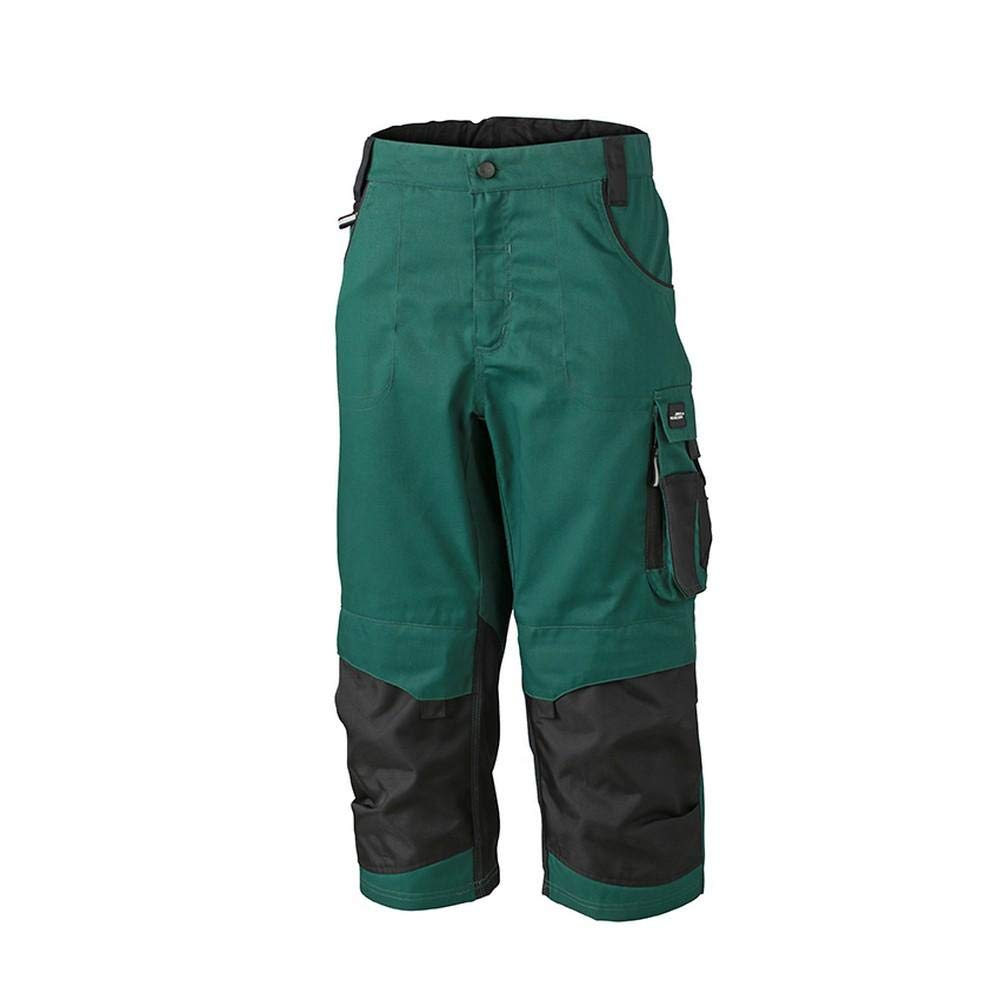 Dark Green Black James and Nicholson Unisex Workwear 3 4 Pants