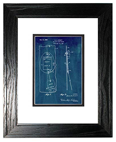 - Ski Lift Ticket Holder Patent Art Midnight Blue Print in a Black Pine Wood Frame with a Double Mat (16