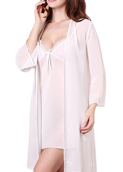 Aivtalk (Set/2 Piezas) Mujer Transparente Camisón Vestido de Tirantes con Bata Gasa Encaje Pijama Ropa de Dormir Escote en V Lencería: Amazon.es: Ropa y ...