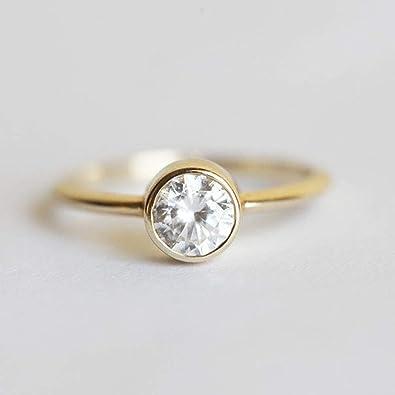 Anillos de boda de diamante solitario de forma redonda de 1,30 ...