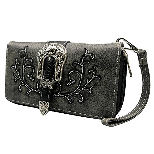 (La Dearchuu Tooled Laser Cut PU Leather Wristlet Wallet Credit Card Phone Holder Western Purse)