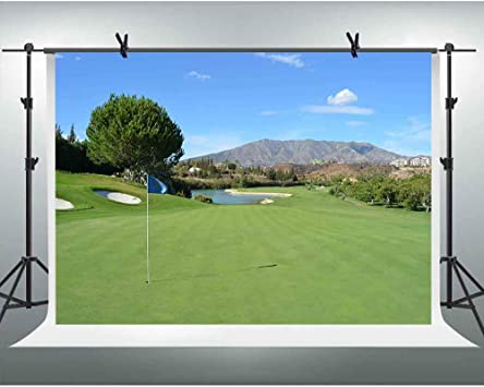 Amazon Com Fhzon 7x5ft Golf Course Backgrounds For Photography Blue Sky White Clouds Mountain Lake Lawn Backdrop Landscape Themed Wallpaper Photo Studio Props Lxfh625 Camera Photo