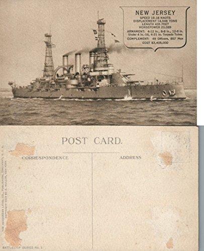 - NEW JERSEY BATTLESHIP 1913 ANTIQUE POSTCARD